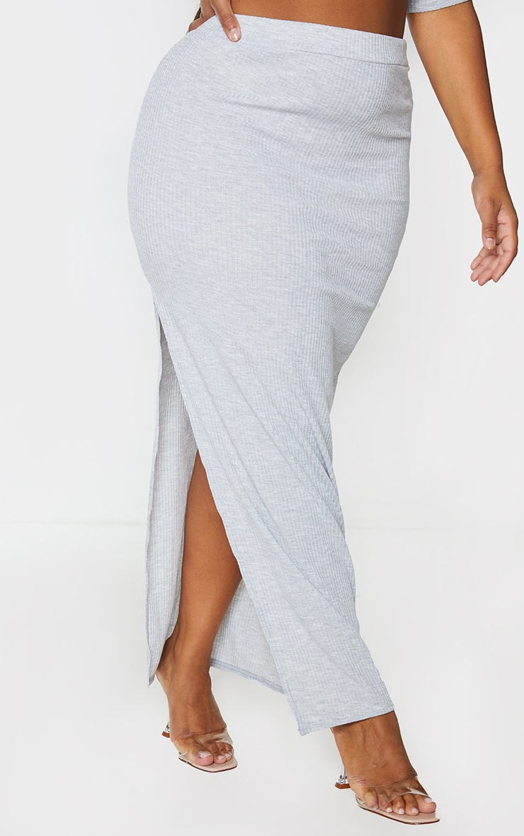 Plus Grey Soft Rib Split Front Maxi Skirt 2