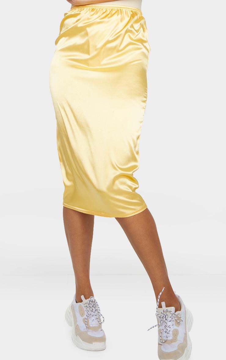 Golden Yellow Satin Midi Skirt 2