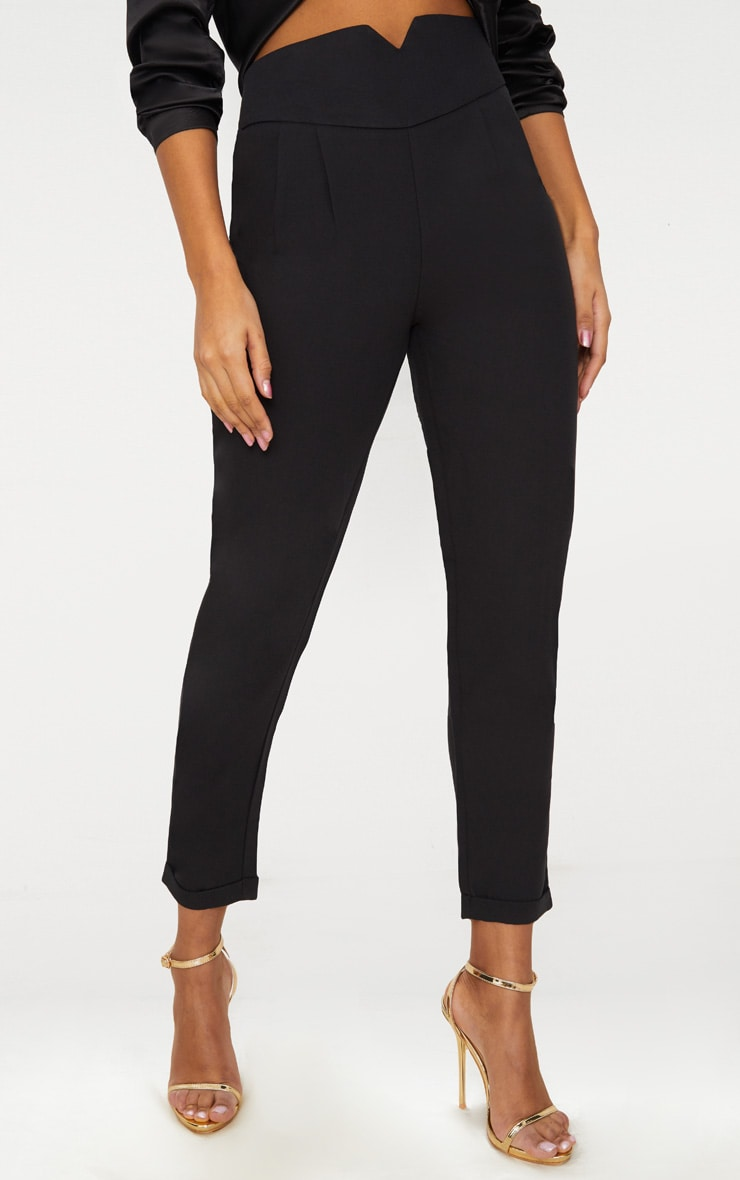 Elenor Black High Waisted Tapered Trousers 2