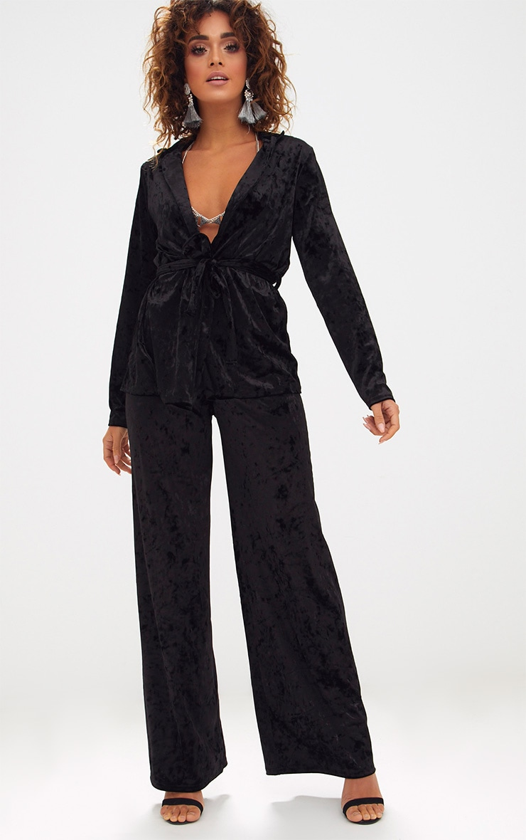 Black Crushed Velvet Suit Trouser 1