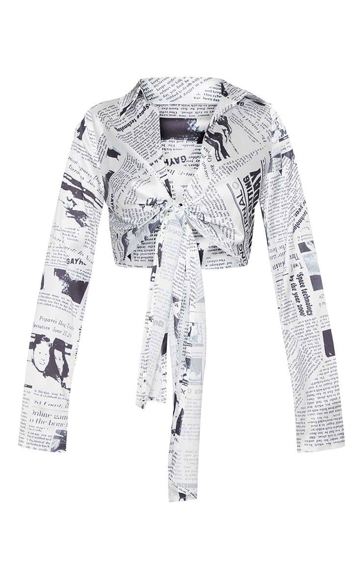 Monochrome Satin Newspaper Print Tie Front Blouse 3