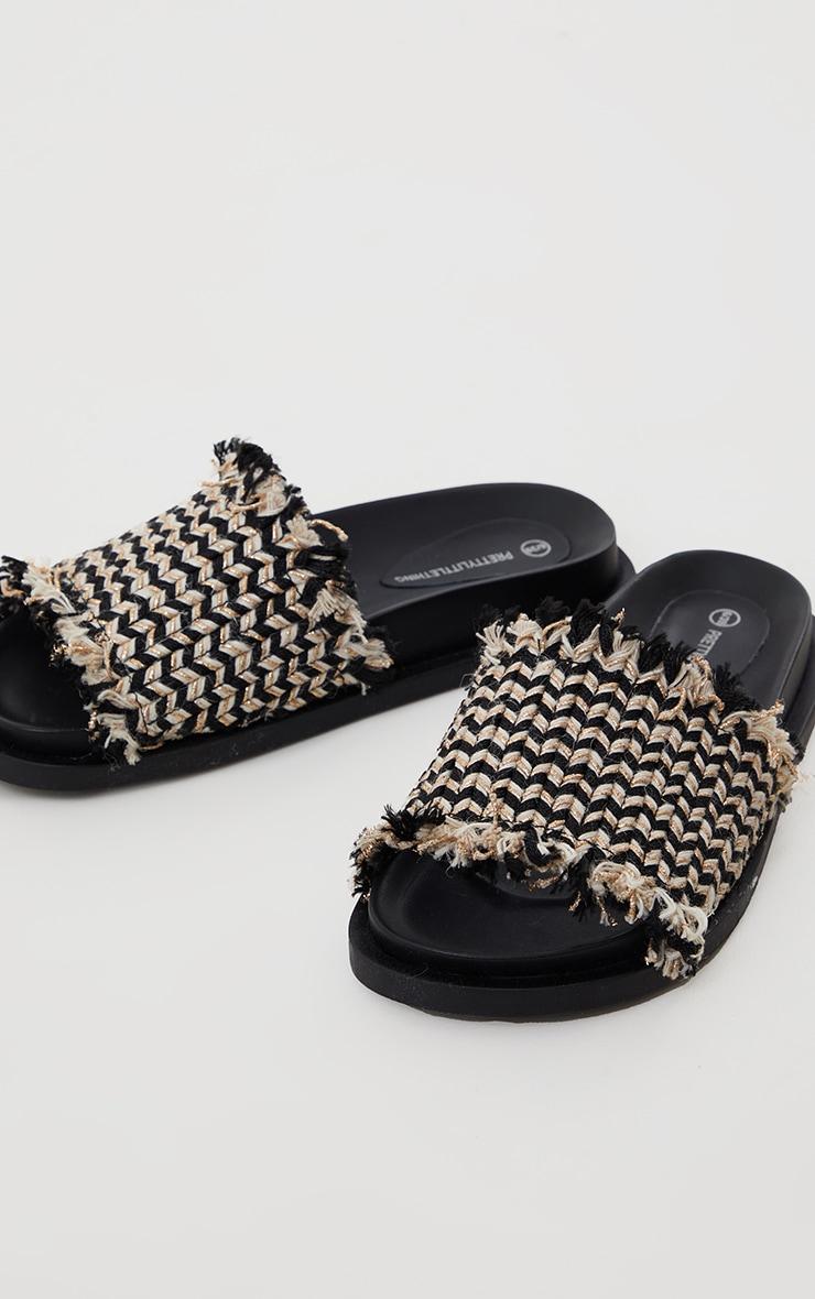 Black Raffia Strap Footbed Sliders