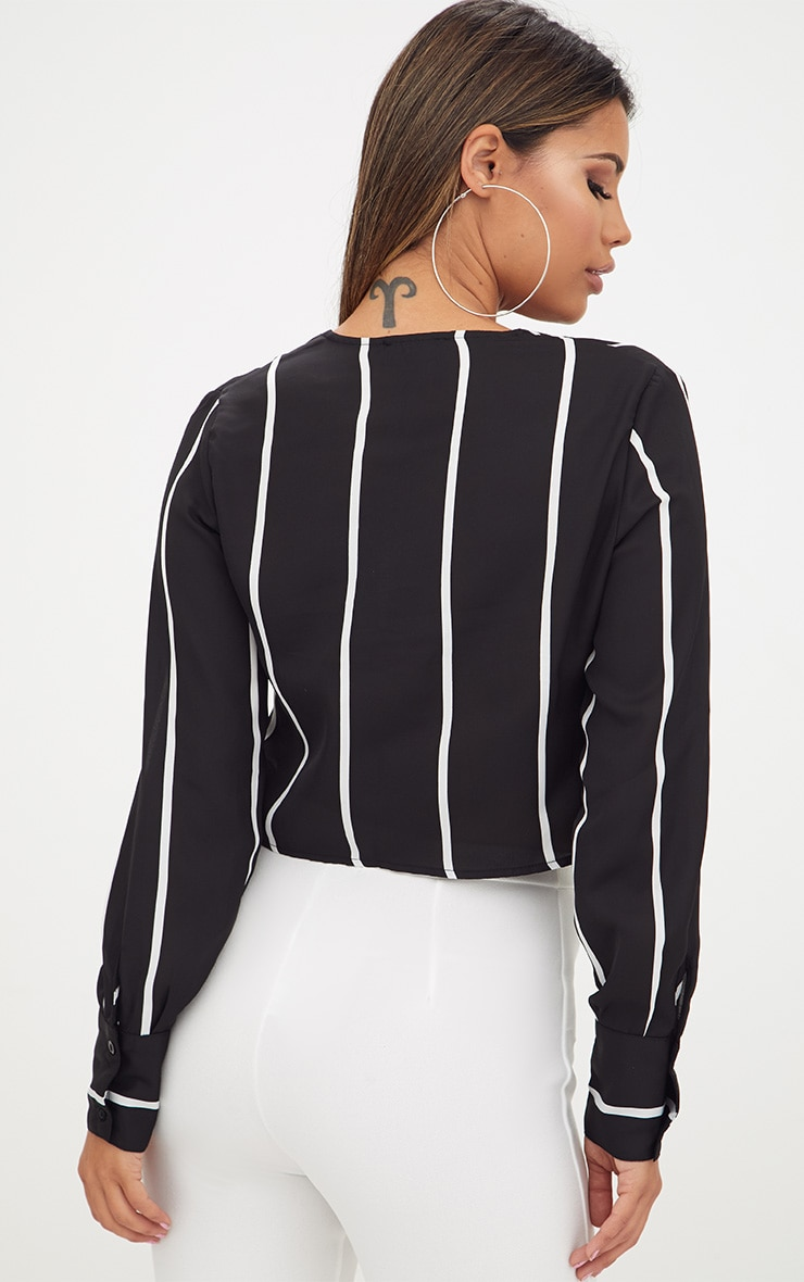 Black Tie Front Stripe Cropped Blouse 2