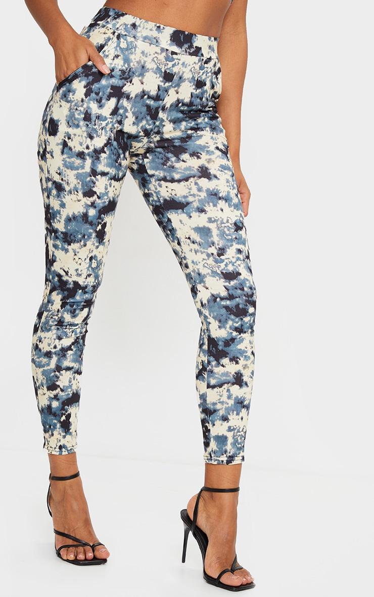 Pantalon taille haute gris imprimé tie & dye 2