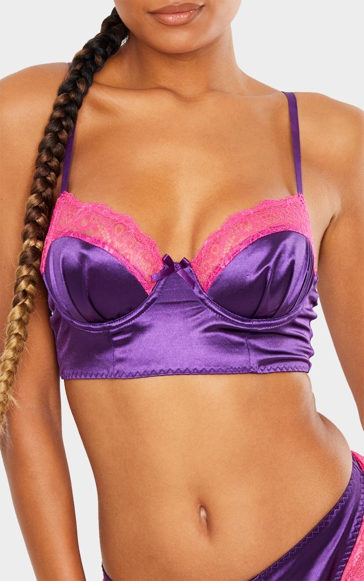 Purple Longline Satin Lace Trim Bra 1
