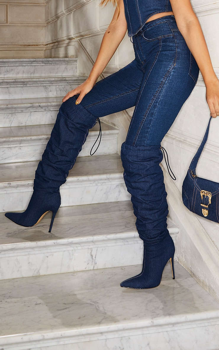 Denim Slouch Thigh High Boot 1