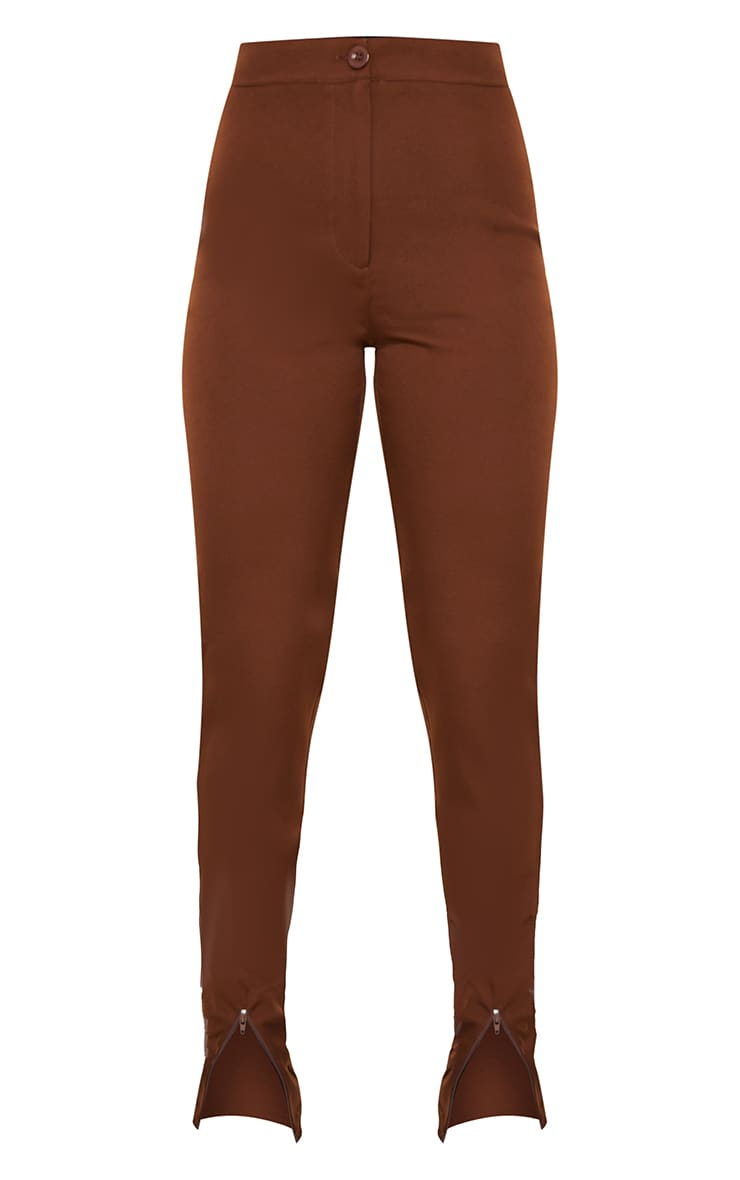 Chocolate Zip Hem Woven Skinny Trousers 5