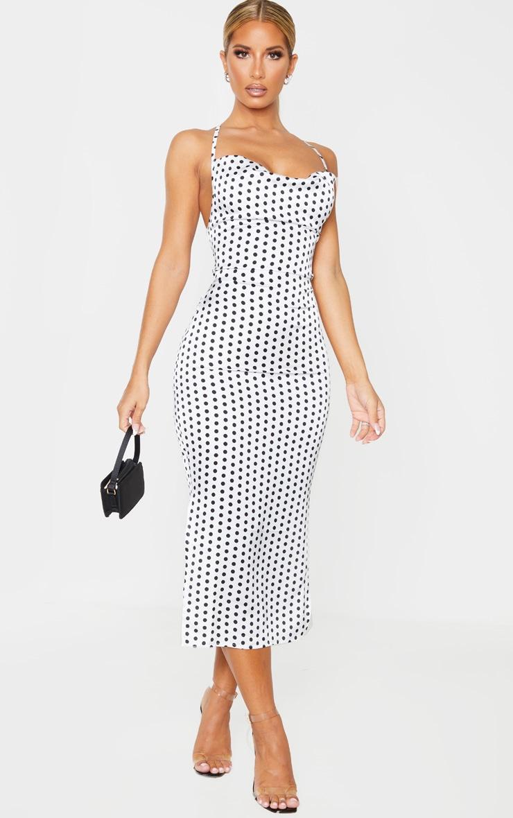 White Polka Dot Satin Strappy Back Midi Dress 1
