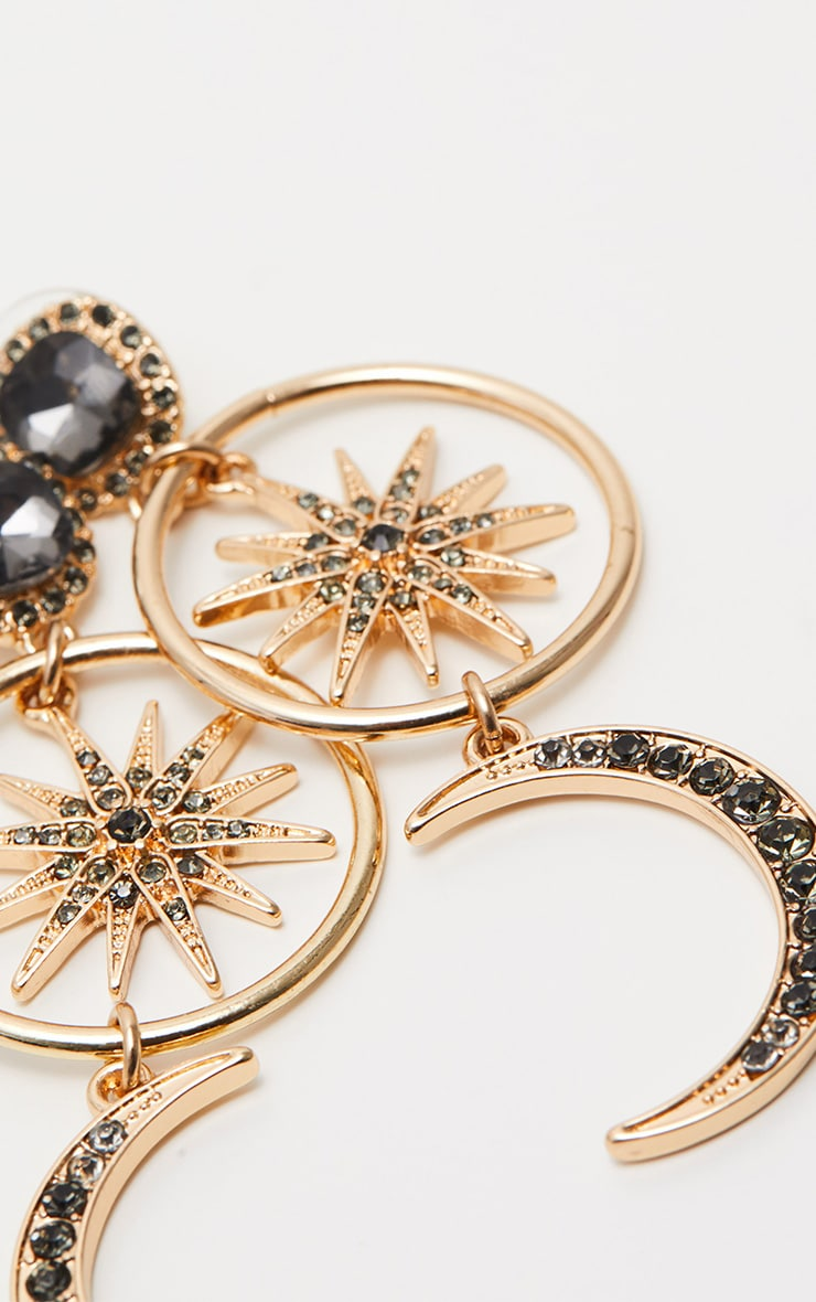 Gold Moon Star Diamante Earrings 3