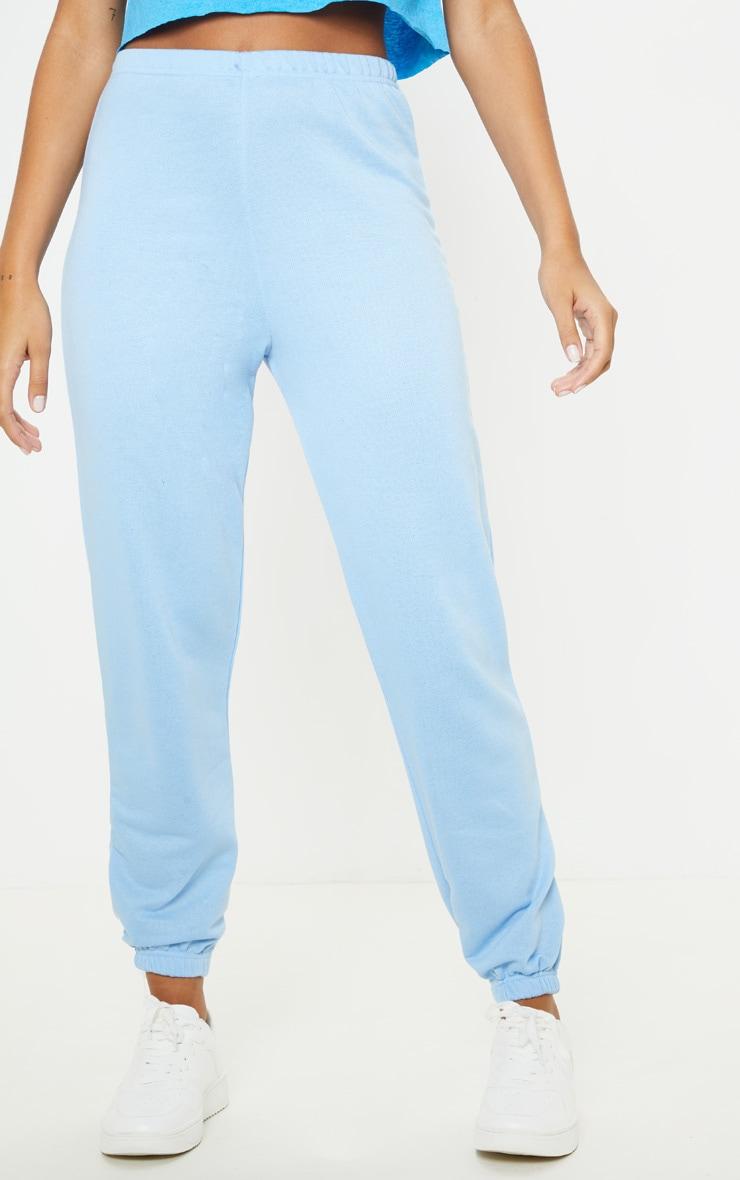 Baby Blue Basic Cuffed Hem Track Pants 2