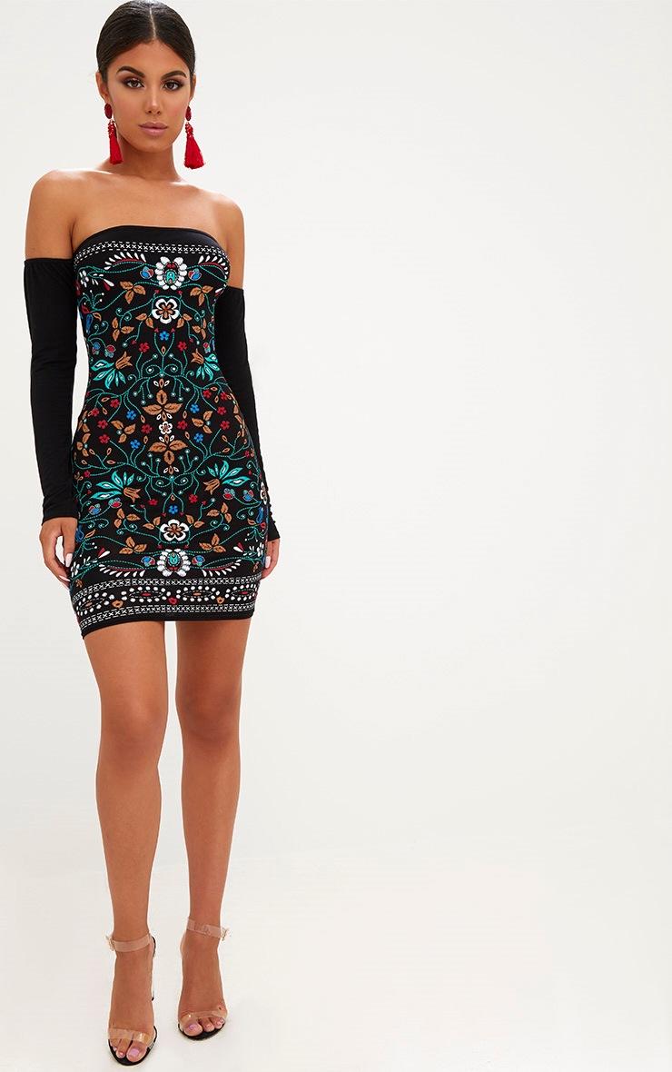 Black Long Sleeve Bardot Puff Print Bodycon Dress 4