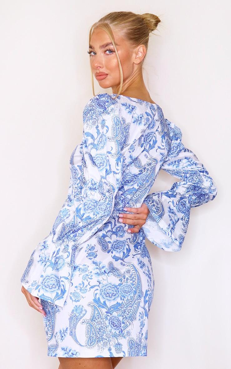 White Porcelain Print Bell Sleeve Bodycon Dress 2