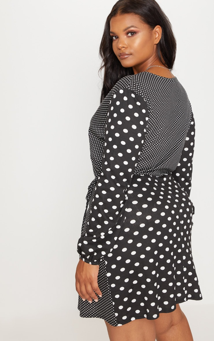 Plus Black Contrast Polka Dot Wrap Dress 2