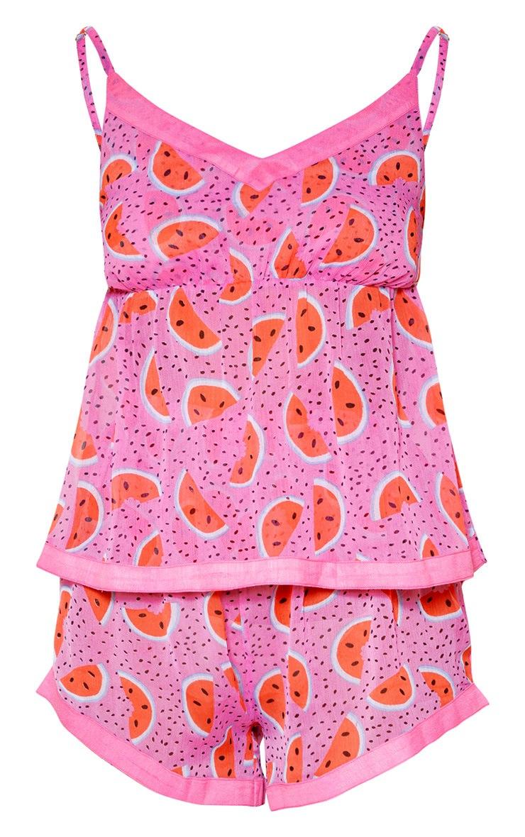 Ensemble de pyjama top bretelles + short en mousseline de soie rose imprimé pastèque 3