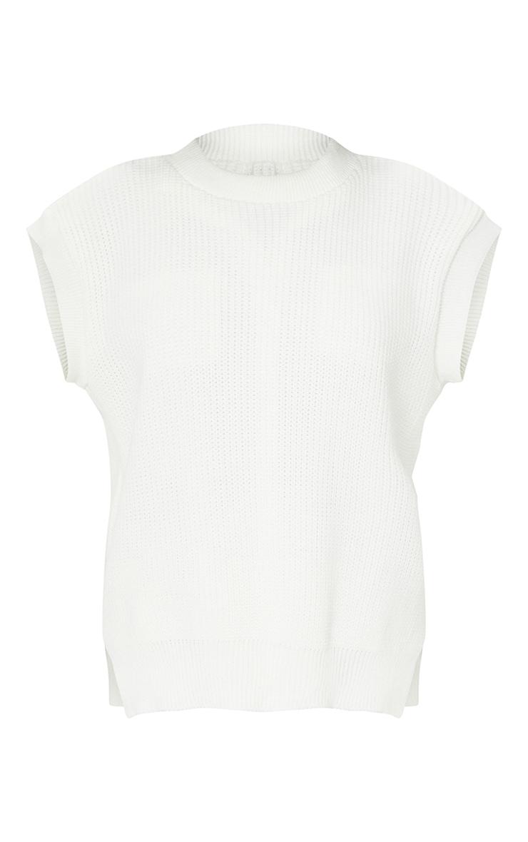 Cream Round Neck Side Split Knitted Vest 5