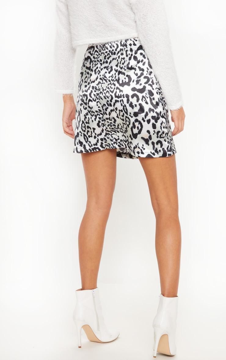 Leopard Print A Line Satin Mini Skirt 4