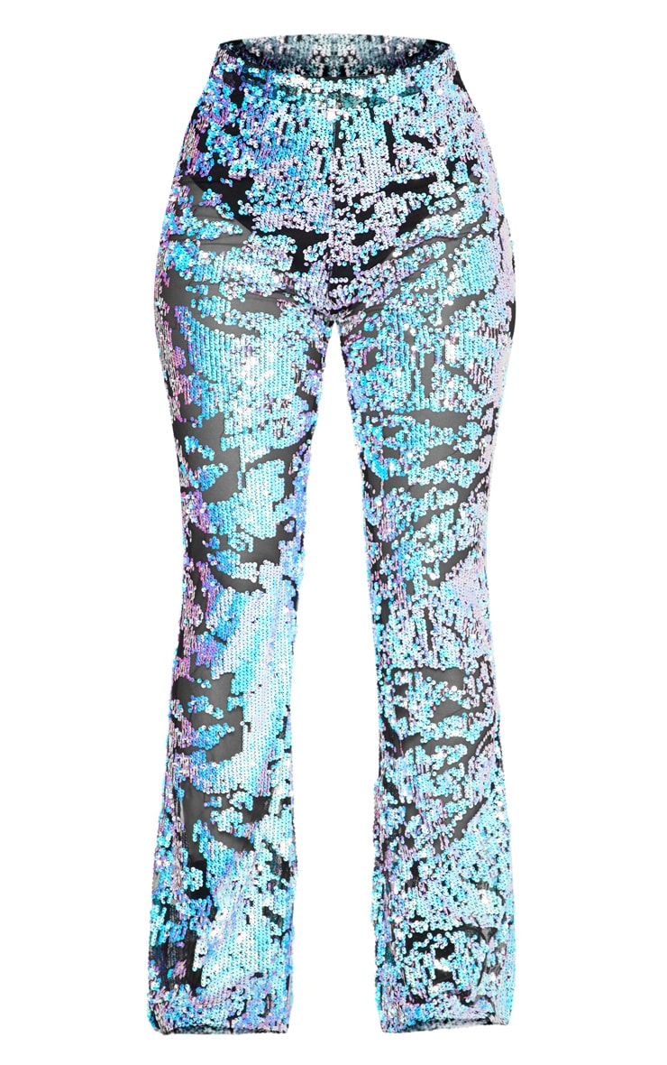 Multi Iridescent Flared Trousers  2