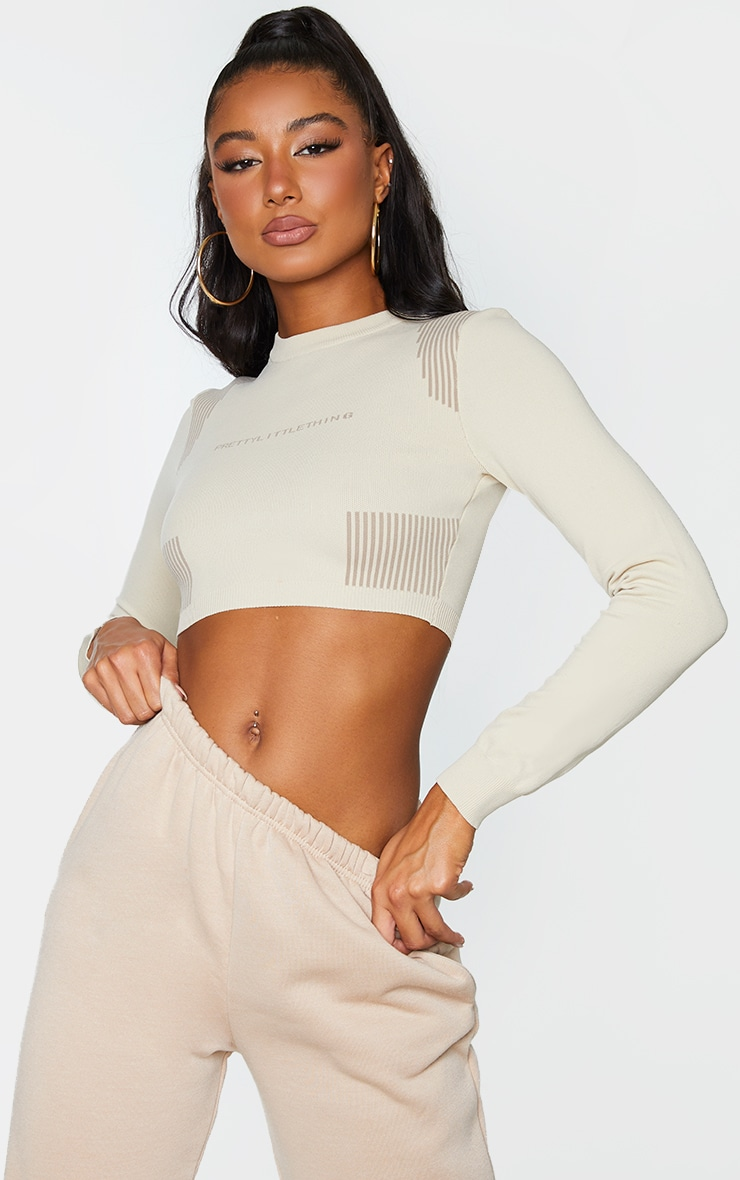 PRETTYLITTLETHING STONE LONG SLEEVE TOP