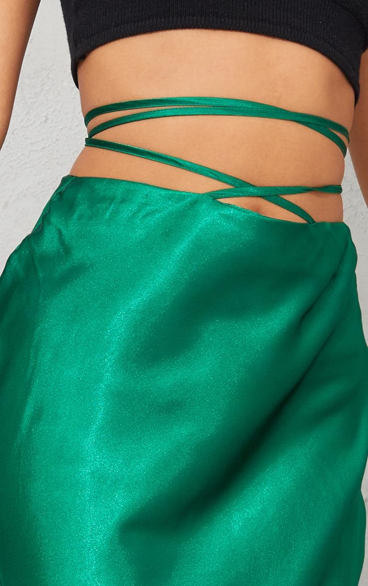 Green Satin Tie Waist Midi Skirt 4