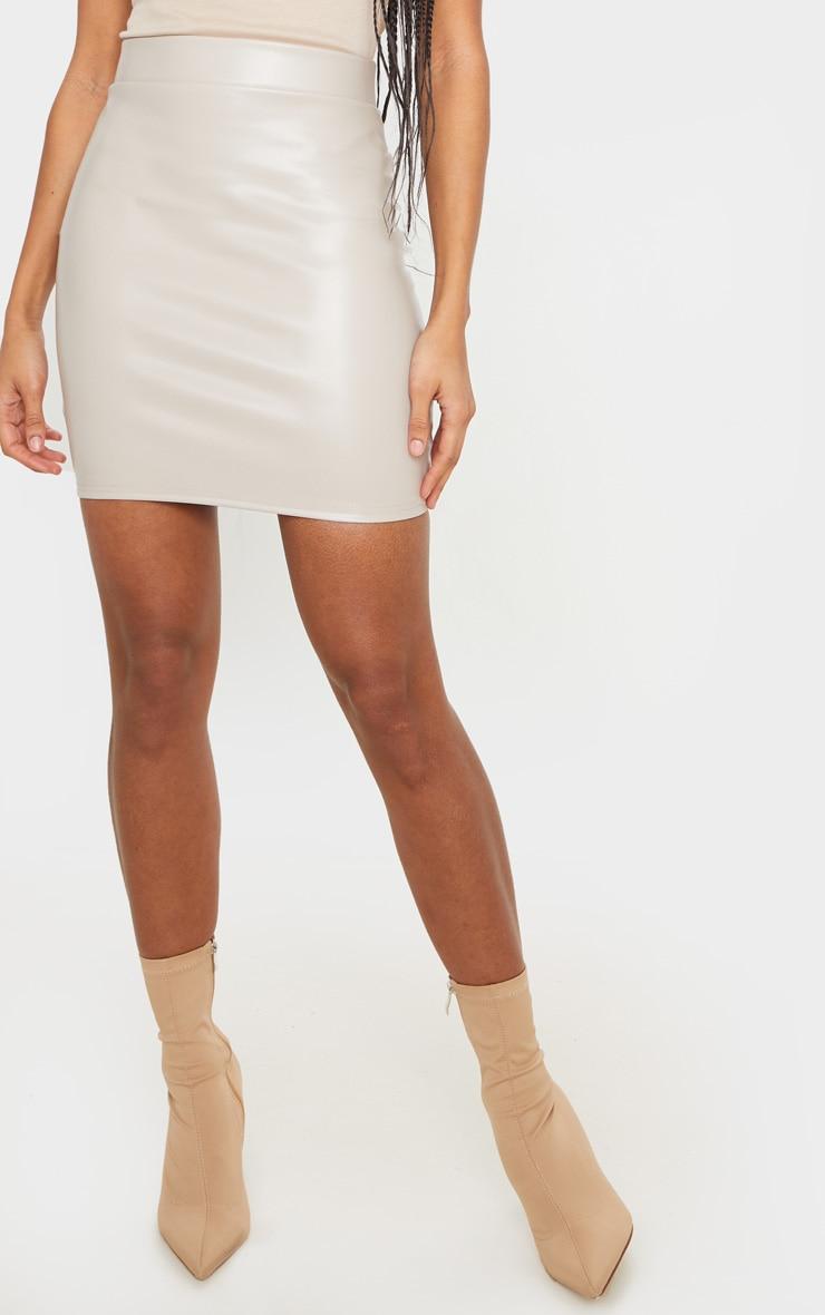 Stone Basic Faux Leather Mini Skirt 2