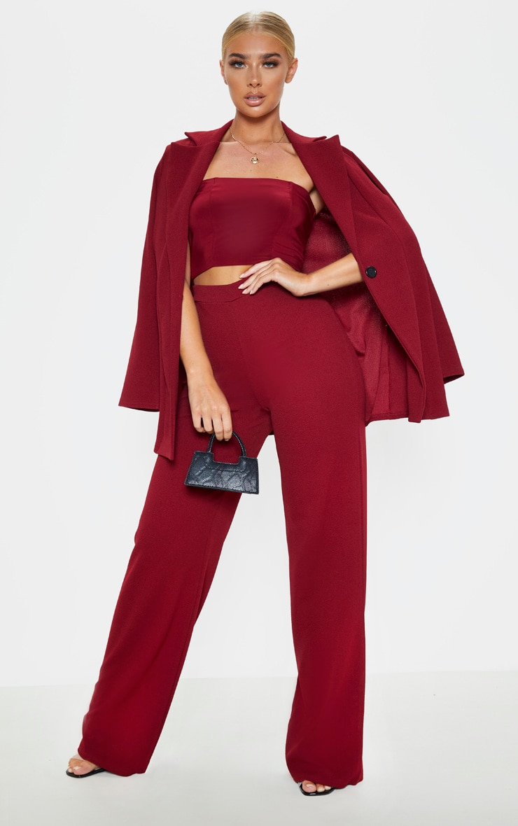Burgundy Wide Leg Pants  1