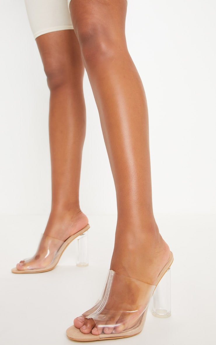Nude Clear Block Heel Mule Sandal Shoes