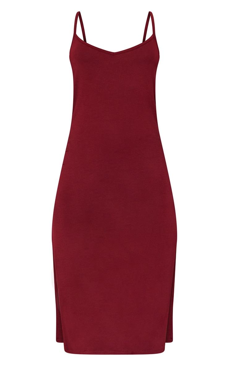 Dark Red Jersey Split Cami Midi Dress 5