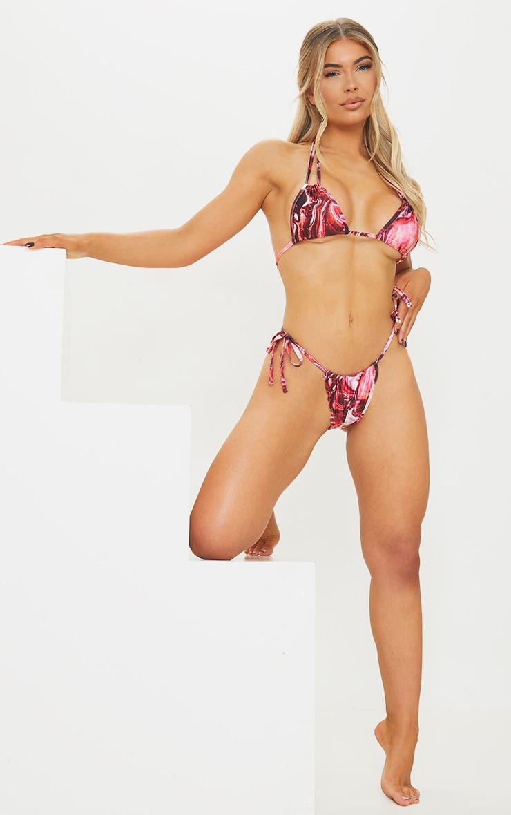 Purple Marble Halterneck Ruched Mini Triangle Bikini Top 3