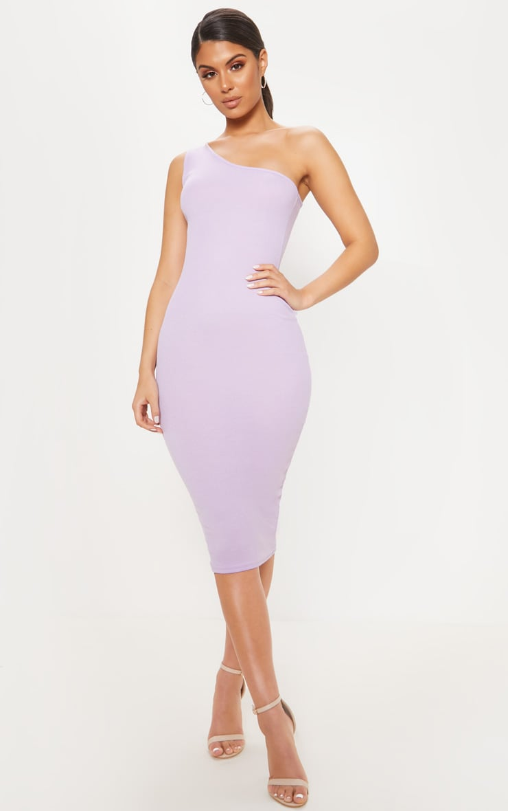 Lilac Ribbed One Shoulder Midi Dress 1