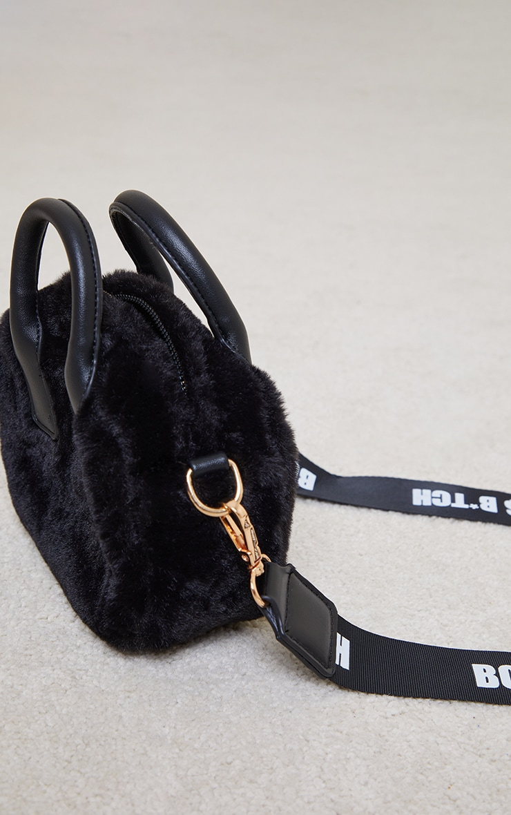 Black Faux Fur Mini Bowler Bag 2
