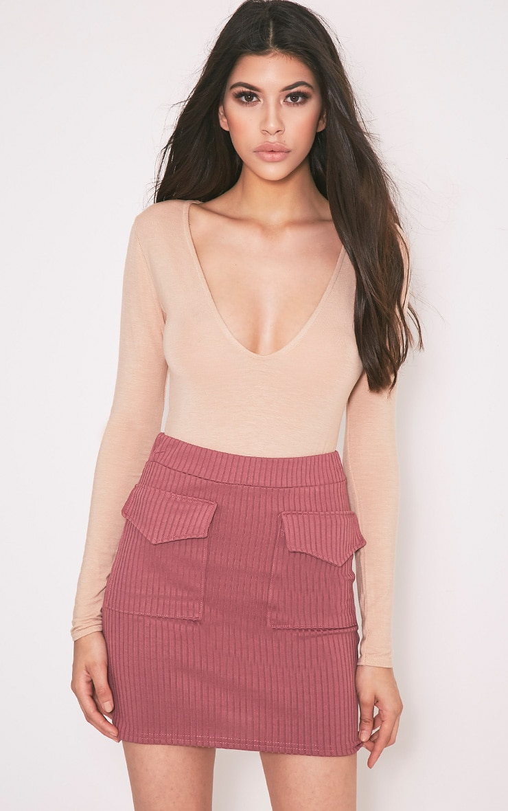 Esta Rose Pocket Ribbed Mini Skirt 1