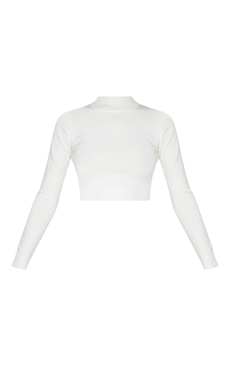 PRETTYLITTLETHING White Back Cropped Knitted Top 5