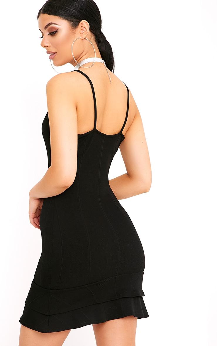 Carletta Black Bandage Frill Hem Bodycon Dress 2