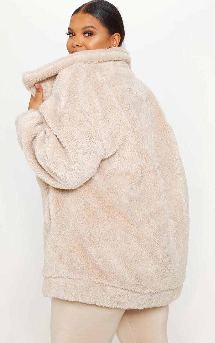Plus Stone Teddy Bomber Coat 2