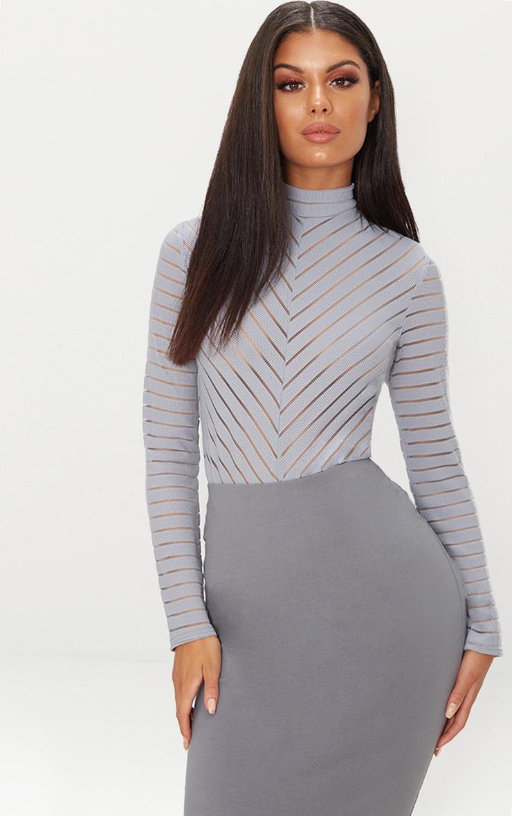 Grey Chevron Mesh Long Sleeve Thong Bodysuit  1