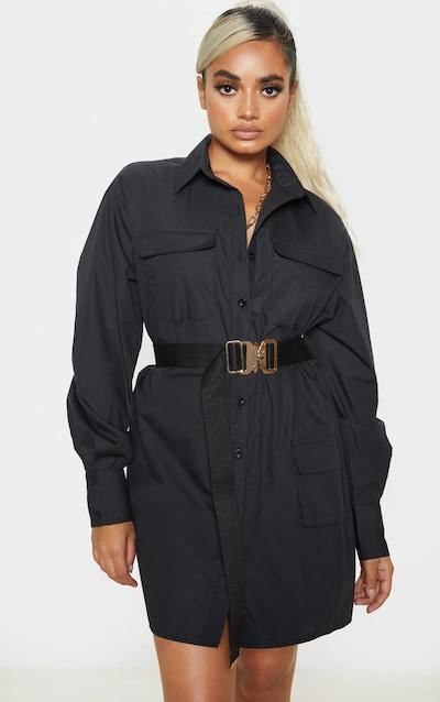 Petite Black Pocket Detail Long Sleeve Shirt Dress