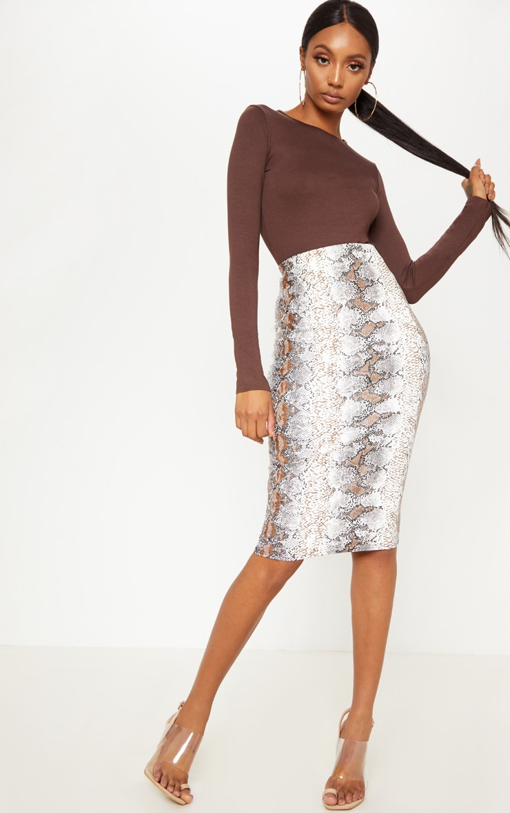 Brown Snake Print Faux Leather Midi Skirt