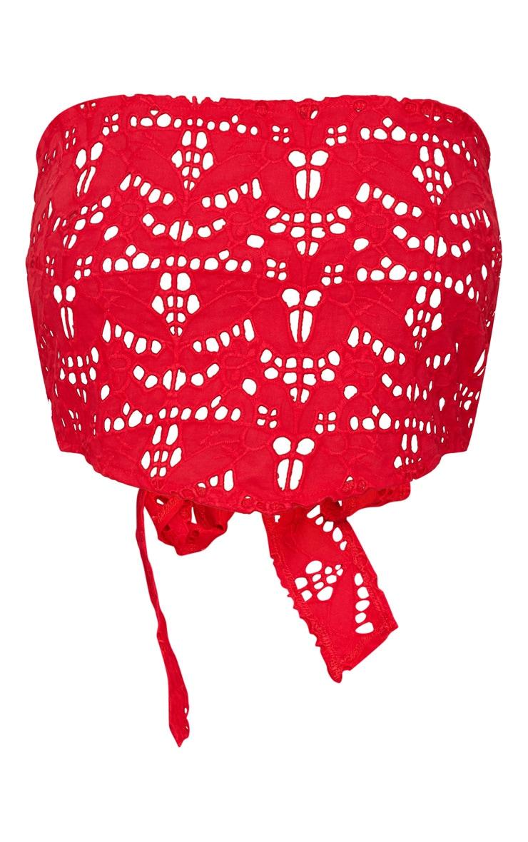Red Broderie Bandeau Handkerchief Crop Top  3
