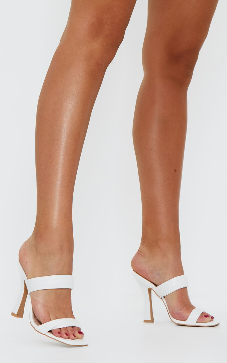 White PU Quilted Strap Flare Heel Mules 1