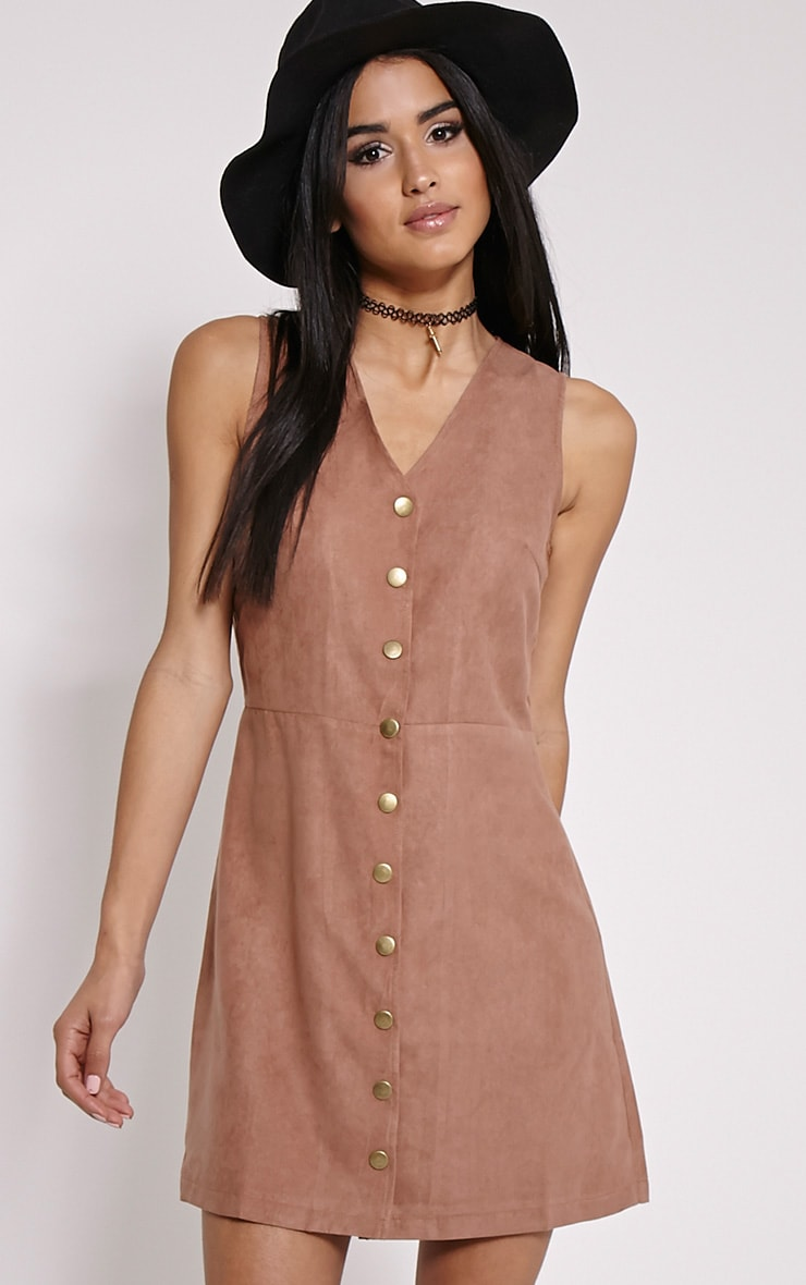 Caiden Beige Button Down Faux Suede Mini Dress 1