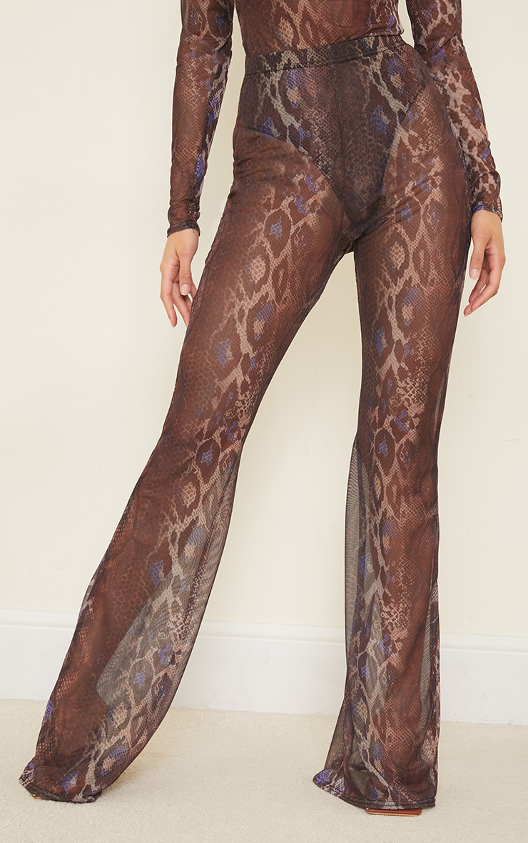 Purple Snakeskin Printed Sheer Mesh Flared Pants 2