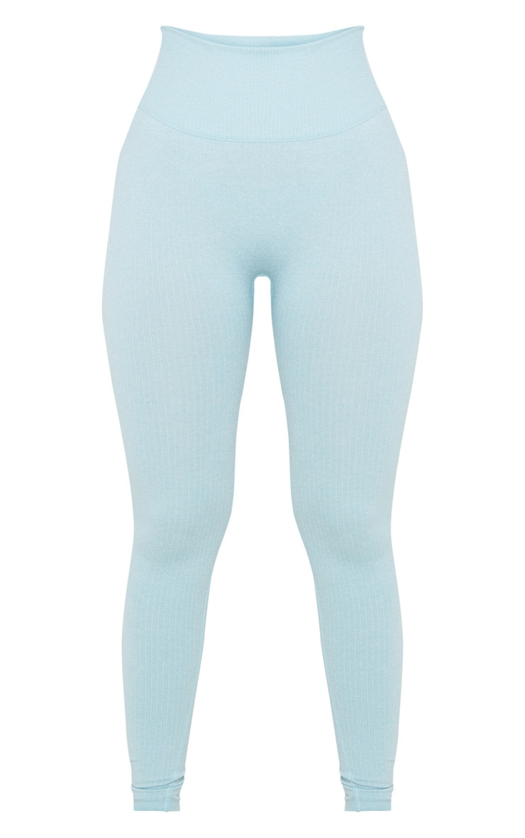 Blue Ribbed Sports Legging 3
