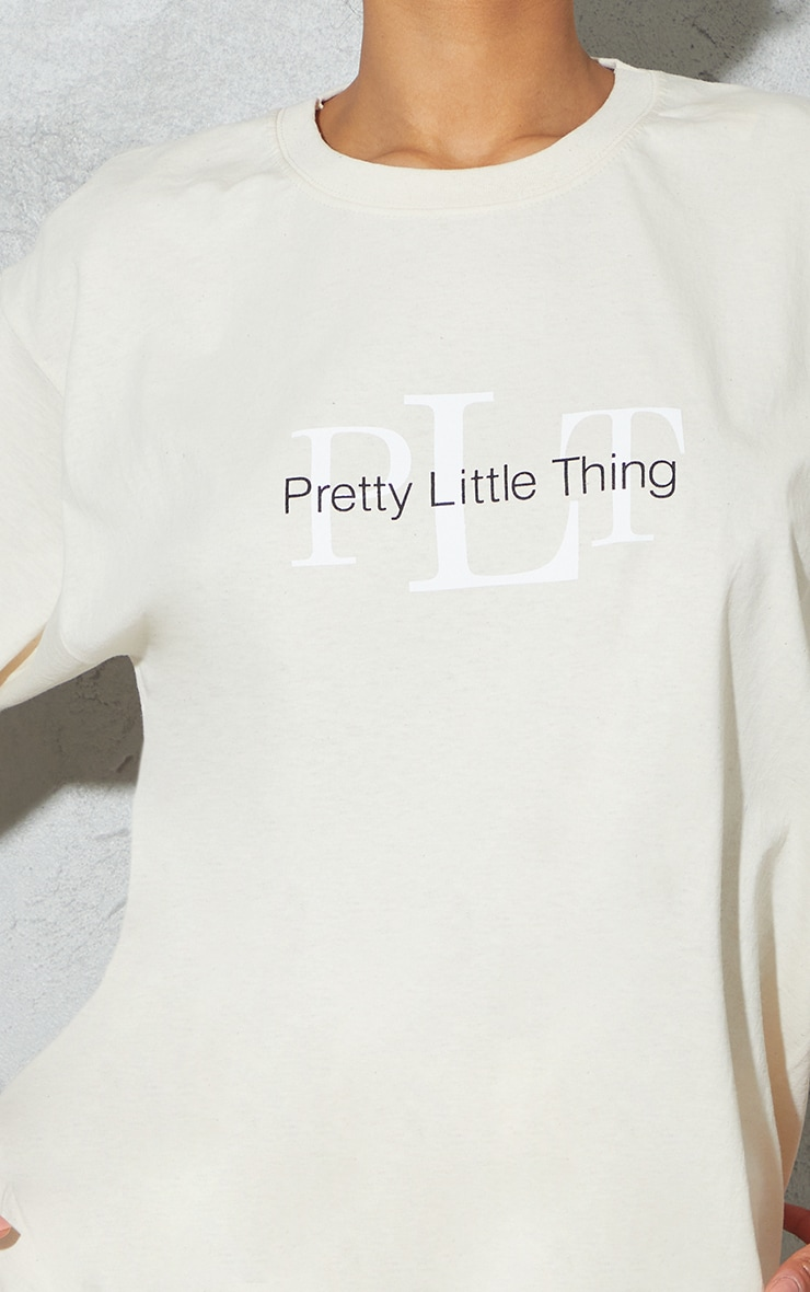PRETTYLITTLETHING Sand Oversized Graphic T Shirt 4