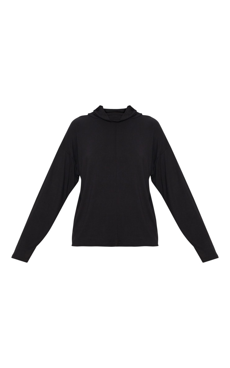 Black Jersey High Neck Oversized Top 3