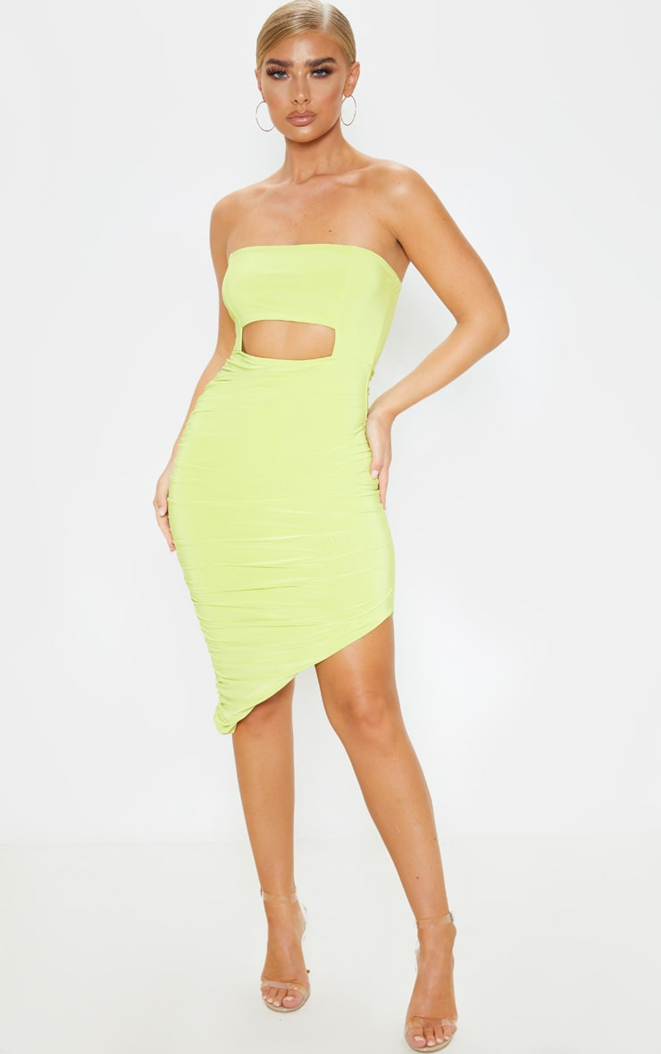 Lime Slinky Cut Out Bardot Ruched Midi Dress by Prettylittlething