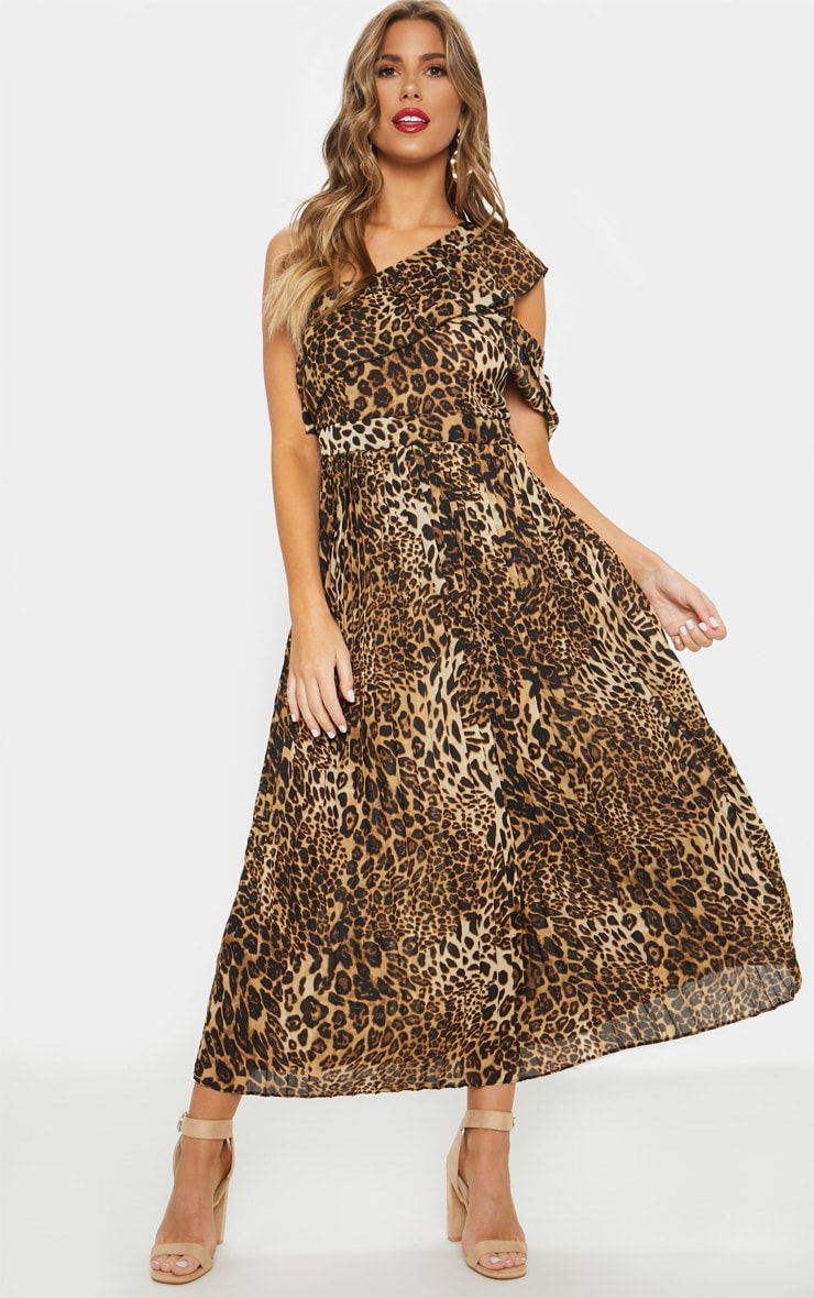 Tan Leopard Print One Shoulder Ruffle Detail Pleated Midi Dress 1