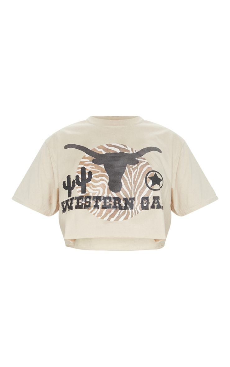Camel Western Gal Printed Crop T Shirt 5