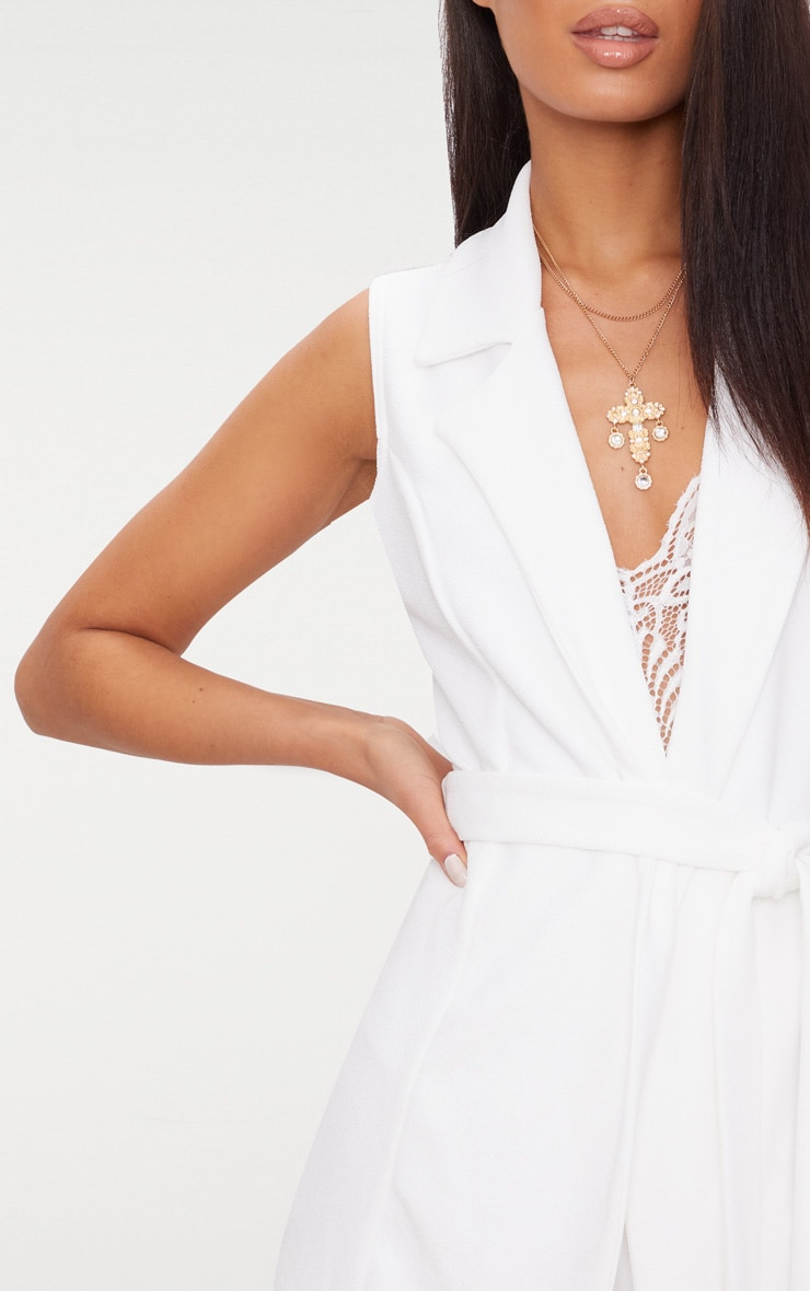 White Sleeveless Belted Blazer 5