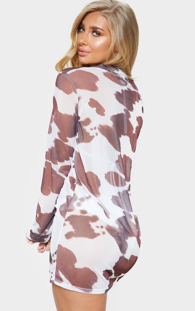 Cow Print Mesh Beach Shirt 2