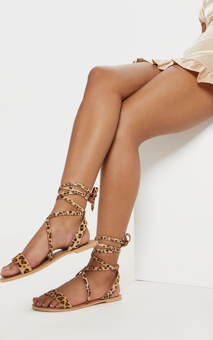 Leopard Basic Leather Sandal 2